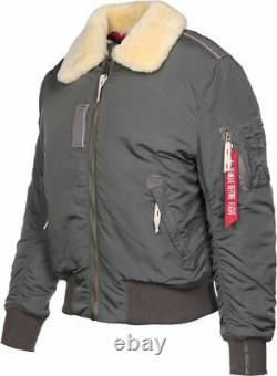 Alpha Industries Injector III Grey Fur Plain Bomber Jacket