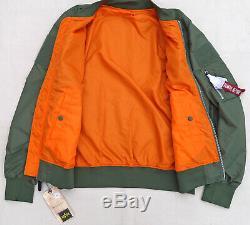 Alpha Industries L2b Flex Flight Bomber Jacket Réversible Sage Orange Hommes Xlarge