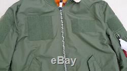 Alpha Industries L2b Flex Flight Bomber Jacket Réversible Sage Orange Mens Grand