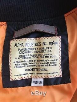 Alpha Industries Ma1 Tt Blouson Aviateur Bomber Noir Moyen Véritable