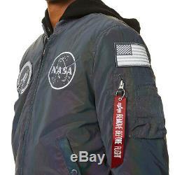 Alpha Industries Ma-1 Hommes Nasa Arc-en-réfléchissant Bomber Veste En Réfléchissant