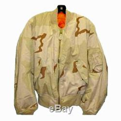 Alpha Industries Ma-1 Jacket 3 Color Camouflage Desert Taille Fabriqué Aux États-unis