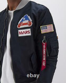 Alpha Industries Ma-1 Men Lw Mission To Mars Bomber Jacket Rep Bleu // // Bnwt