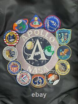 Alpha Industries Ma-1 Nasa Apollo Flight Bomber Jacket Noir Rouge Hommes Moyenne