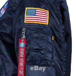 Alpha Industries Ma-1 Nasa Flight Jacket Réplique En Nylon Bleu Mjm21093c1