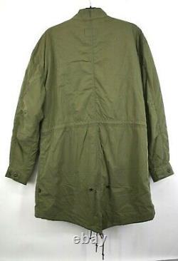 Alpha Industries Mens Olive Snap Front Drawstring Waist Fishtail Parka Jacket M