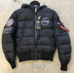 Alpha Industries Mens Rep Nasa Blue Apollo 11 Quilt Hooded Jacket M Medium