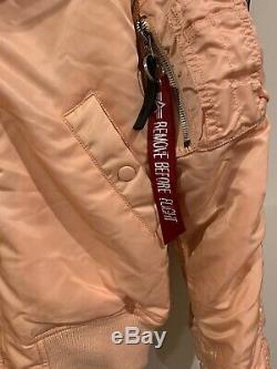 Alpha Industries N-2b Peach Rose Manteau D'hiver Bordure En Fausse Fourrure De Capot Bomber Sz M Tn-o