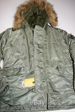 Alpha Industries N-3b Parka Extreme Cold Taille Medium Vert Avec Cagoule Nouveau