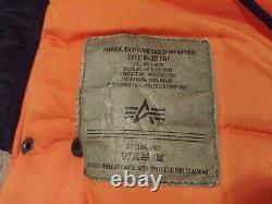 Alpha Industries N-3b Parka Marine Bleu/orange Liner Taille Moyenne Slim Fit