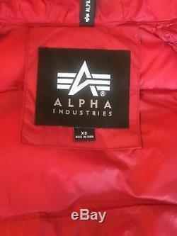 Alpha Industries N-3b Veste D'hiver Rouge Echo Elite Poignet À Capuche Fourrure Mens Sz Med