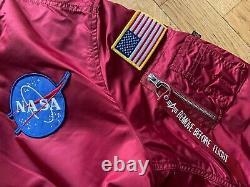 Alpha Industries Nasa Ma-1 Bomber Veste Rouge Taille Moyenne Nouveau Et Dénudé