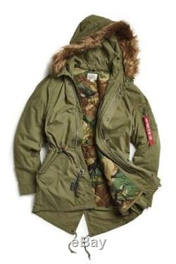 Alpha Industries - Parka En Queue De Poisson À Capuche En Fourrure Vert Olive Camouflage Moyen Pour Homme