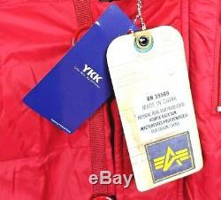 Alpha Industries Veste D'hiver Rouge Echo Elite N-3b À Capuche En Fourrure Pour Femmes, Taille Mi-longue