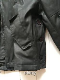 Alpha Industries Veste Motard En Coton Ciré Taille Moyenne Noir Très Rare