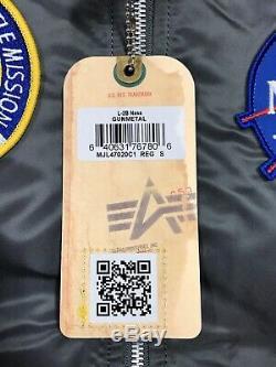 Alpha Industries X Nasa L-2b Flight Blouson Gunmetal Grey Mens Taille Moyenne