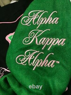 Alpha Kappa Alpha Women Wool Full Zip Stitched Hoodie Jacket M Big Boy Couvre-chef