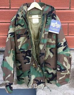 Alpha Woodland M65 Champ Jacket Medium Regular 2 Scovill Laiton Gi Tirettes Liner