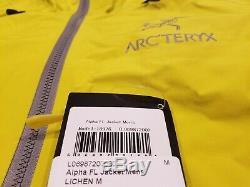 Arc'teryx Alpha Fl Jacket Homme (m) Neuf Avec Étiquettes Lichen Medium Goretex