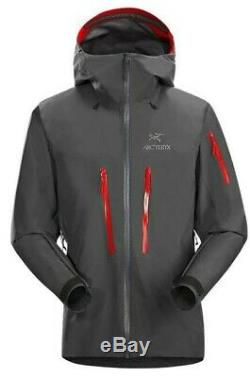 Arc'teryx Alpha Sv Jacket (main Gauche Zipper Blem), Moyenne, Bnwt, Gris / Rouge (pilot)