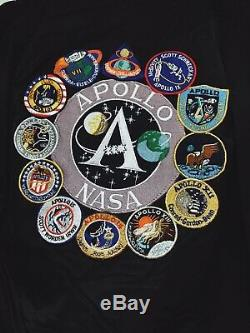 Authentique Alpha Industries Ma-1 Nasa Veste De Vol Apollo Noir Taille Medium