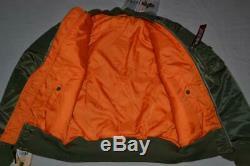 Authentique Alpha Industries Mens Ma-1 Flex Jacket Sage Vert Toutes Les Tailles New