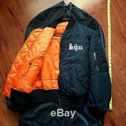 Beatles Alpha Industries Vintage Noir Bomber Flight Jacket Medium Porter Jamais
