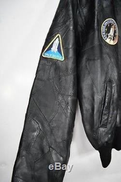Blouson Aviateur En Cuir Noir Vintage Nasa Alpha Industries Pour Homme