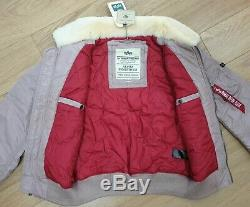 Bnwt Hommes Alpha Industries Bomber Flight Jacket Taille M Violet & Lambswool