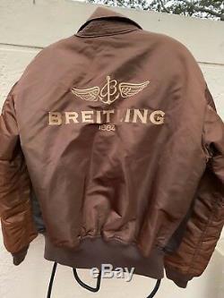 Breitling Alpha Industries Circulaires En Cuir Cwu-45 / P Veste Rare Sz M