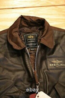 Breitling Alpha Industries Pilot Bomber Veste En Cuir Taille M
