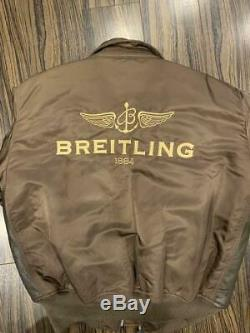 Breitling × Alpha Industries Veste En Cuir Marron Taille M Vip Nouveauté Les Hommes De