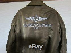 Breitling Et Alpha Cuir Blouson Bomber Jacket Brown Taille M Japon Livraison Gratuite