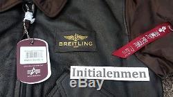 Breitling Veste Flying Pilot Leather Medium Nouvelle Alpha Industries Marron Tags M