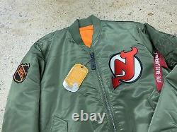 Devils Du New Jersey Alpha Industries Bomber Jacket Jersey Suprême Starter Vtg 'm