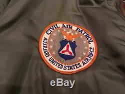 Epoque Vietnam Usaf 1970 CIVIL Air Patrol Ma-1 Blouson XL Intermédiaire
