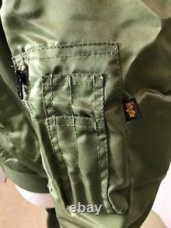 G. I. Usaf Ma-1 Green Flyers Jacket Par Alpha Industries, Made In USA