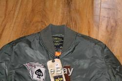 Hommes Alpha Industries Veste Moyenne Bnwt Honor Flight Jacket Sage Vert