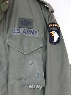 M65 Us Army Alpha Jacket + Doublure Badged Vietnam 101st Airborneus Small (uk Med)