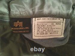 Made In USA Ma-1 Alpha Industries Medium Pilot Flight Jacket Us Army Alpha USA