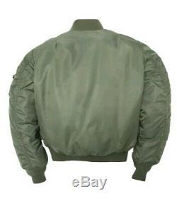 Mens Alpha Industries Ma1 Flight Jacket. En Volant. Manteau Bomber Vert Moyen 5,55