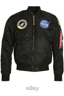 Mens Jacket Alpha Industries Ma-1 Vf Astronaute De La Nasa Flight Jacket Noir