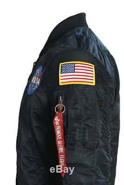 Mens Jacket Alpha Industries Ma-1 Vf Astronaute De La Nasa Flight Jacket Rep Bleu