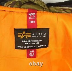 New Alpha Industries Ma-1 Natus Jacket Tiger Camo Hooded Size Medium Nwt
