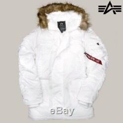 New Alpha Industries N3b Slim Fit Mens Parka Blanc Medium Jacket