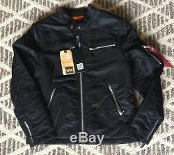 Nouveaux W Tags Alpha Industries Machina Biker Jacket Noir Medium Slim Fit