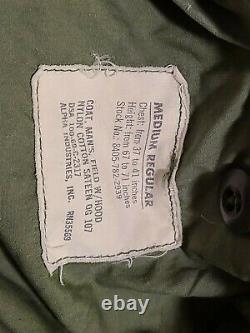 Original 1969 M65 Vietnam Field Jacket Alpha Ind. Cotton Sateen Og 107 Moyen