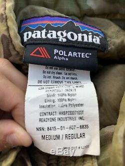 Patagonie Polartec Alpha L3a Léger Loft Shell Wind Jacket Multicam Med. Longue