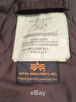 Rare Alpha Industries Cwu-45 / P Veste Flyers Blouson Bomber Brun Moyen USA Vintage