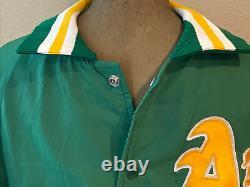 Sympa! Vintage Mlb Oakland A's Athletics Satin Jacket Alpha Taille Large